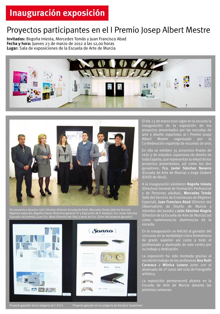 Begoña Iniesta, Mercedes Tomás y Juan Francisco Abad en la inauguración exposición I Premio Josep Albert Mestre en la Escuela de Arte de Murcia